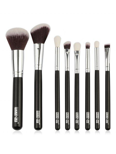 8 Pcs Synthetic Fiber Hair Eyeshadow Blush Contour Cosmetic Brush Set - BLACK