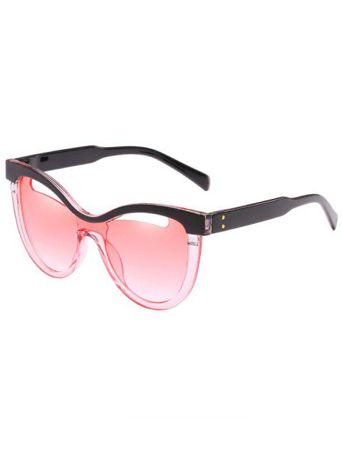 Vintage Hollow Out Frame Clear Lens Catty Sunglasses - PINK