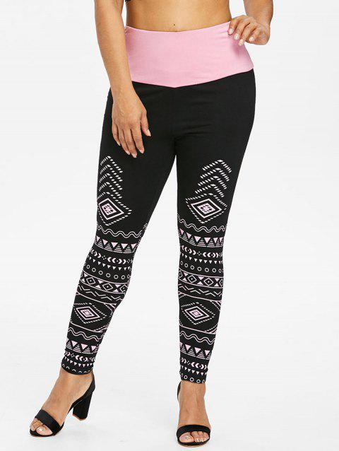 Plus Size High Waisted Two Tone Leggings - BLACK 2X