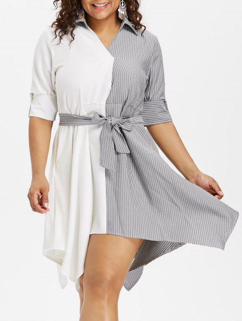Plus Size Knee Length Striped Insert Dress - multicolor 2X