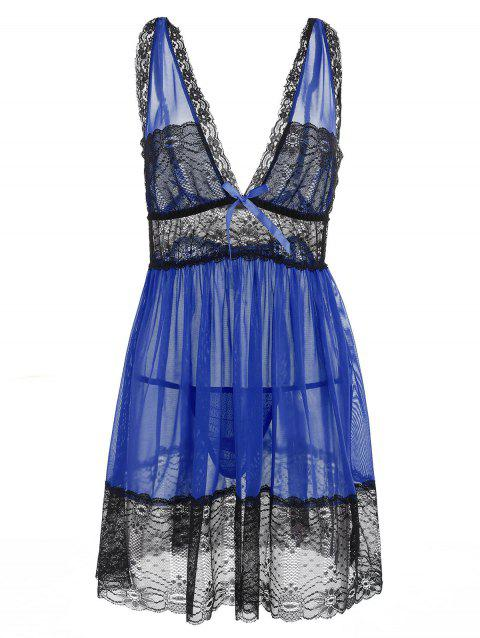 Plus Size Lace Plunging Babydoll - BLUE 2X