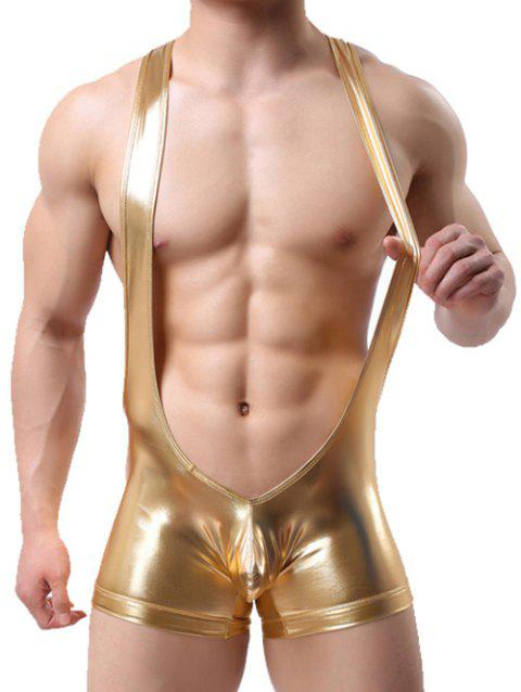 False Leather Bulge Enhancing Bodysuit Strap Trunk - GOLDEN BROWN S