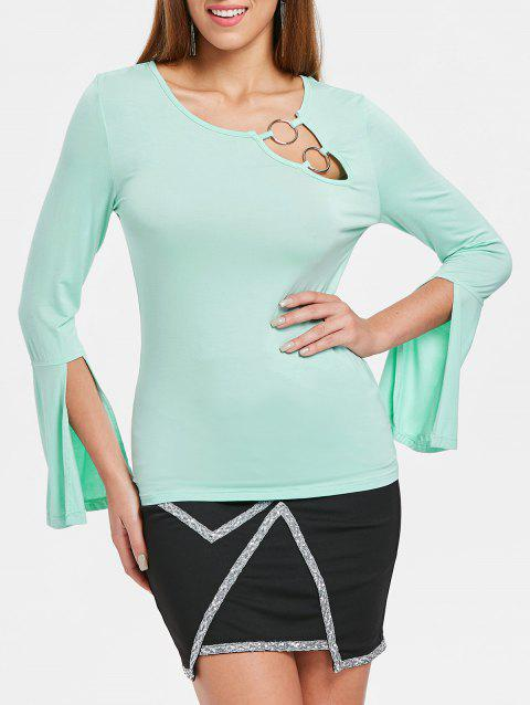 Slit Cuff Flare Sleeve T-shirt - BLUE GREEN M