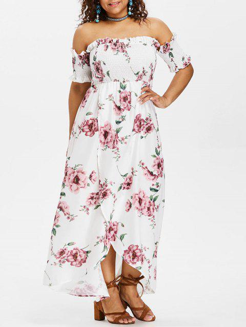Plus Size Tulip Off Shoulder Dress - WHITE 4X