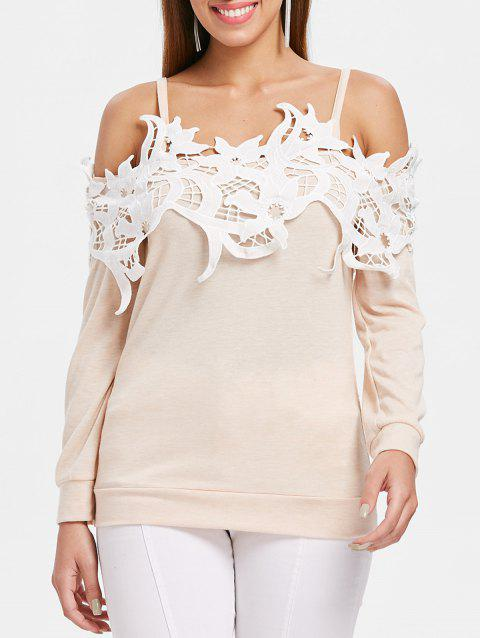 9800d3808d04 41% OFF] 2019 Lace Trim Open Shoulder Long Sleeve T-shirt In WARM ...