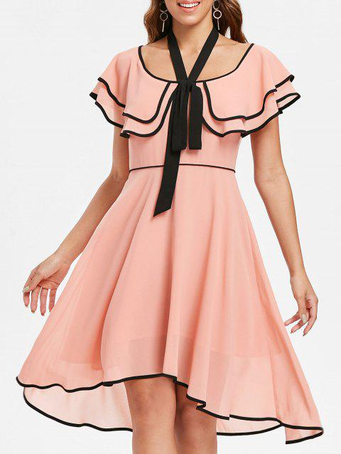 Flounce Sleeve High Waist Dress - PINK BUBBLEGUM S