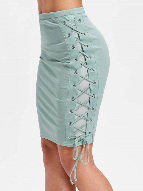 Lace Up Side Bodycon Skirt - LIGHT SEA GREEN 2XL