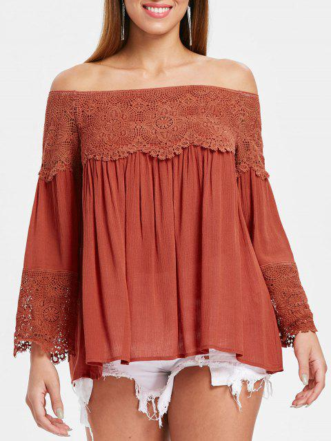 Bare Shoulder Long Sleeve Swing Blouse - MAHOGANY M
