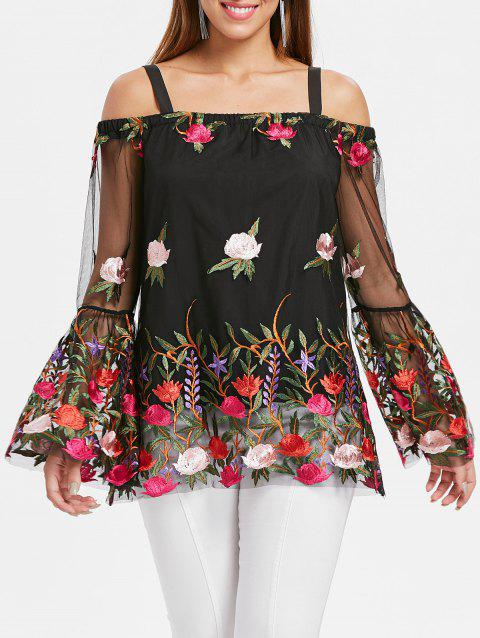Mesh Insert Embroidered Top - BLACK M