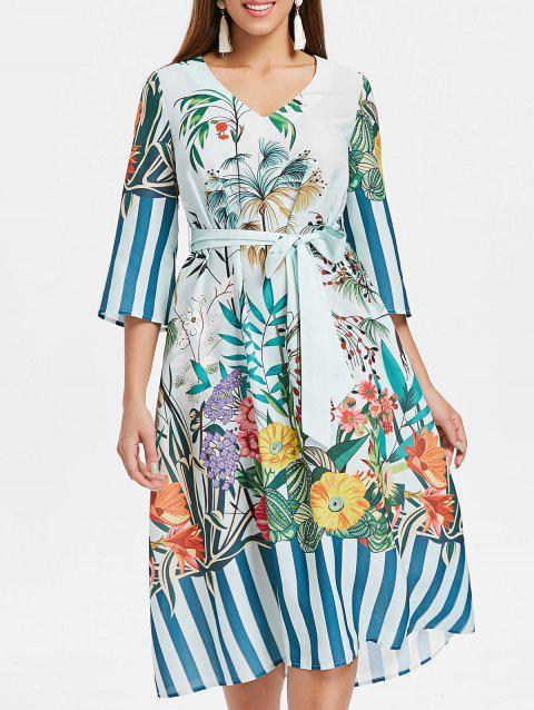 Tropical Midi Dress - BABY BLUE L