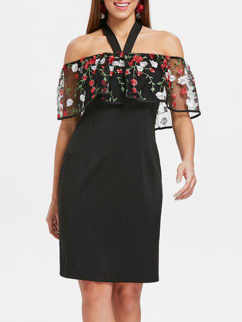 Open Back Embroidered Dress - BLACK 2XL