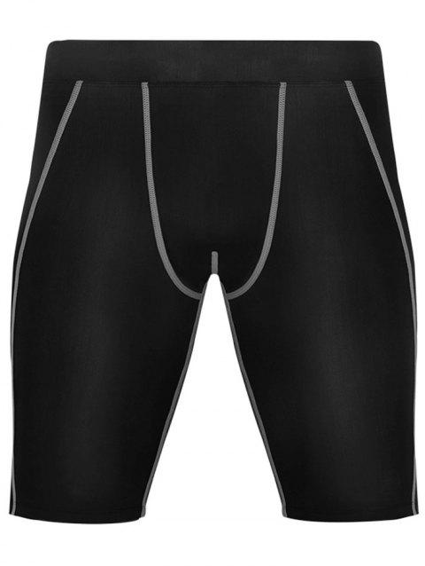 Quick Dry Stretchy Fitted Fitness Jammer Shorts - GRAY 2XL