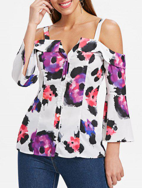 Shoulder Cut Flare Sleeve Button Up Blouse - WHITE XL