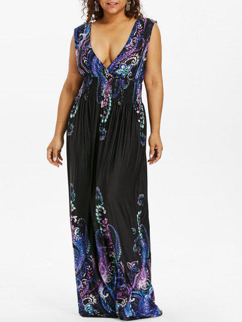 Paisley Plus Size Plunge V Neck Maxi Bohemian Dress - COBALT BLUE 3XL