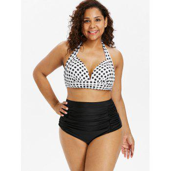 Plaid Print Halter Bra and Ruched Briefs - BLACK 5X