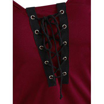 Spaghetti Strap Open Shoulder Lace Up Tee - RED WINE 2XL