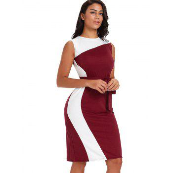 Belted Color Block Knee Length Dress - RED WINE L
