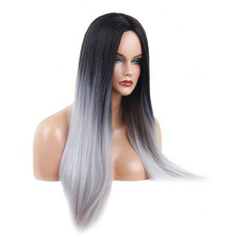 Long Center Parting Ombre Straight Heat Resistant Synthetic Wig - multicolor