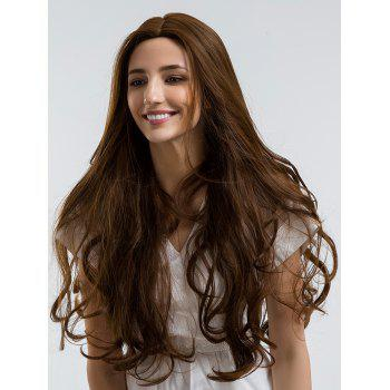 Center Parting Long Layered Wavy Heat Resistant Synthetic Wig - BROWN