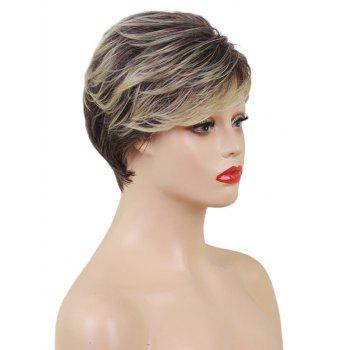 Short Inclined Bang Layered Texture Colormix Straight Synthetic Wig - multicolor