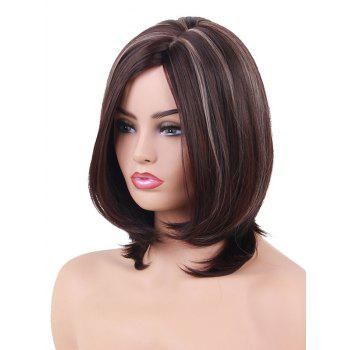 Short Inclined Fringe Highlight Straight Bob Synthetic Wig - multicolor