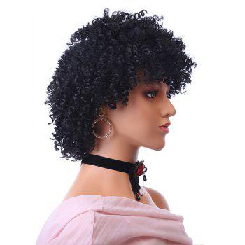 Short Inclined Bang Fluffy Afro Kinky Curly Synthetic Wig - BLACK 4INCH