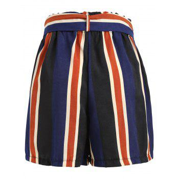 Stripe Wide Leg Shorts - multicolor M