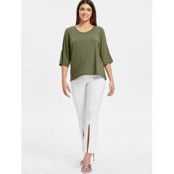 Cut Out Sleeve Sequin Embellished T-shirt - ARMY GREEN S
