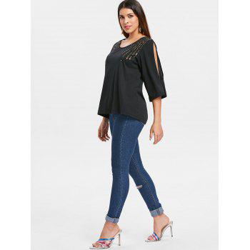 Cut Out Sleeve Sequin Embellished T-shirt - BLACK S