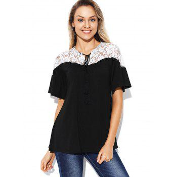 Drawstring Lace Panel T-shirt - BLACK M