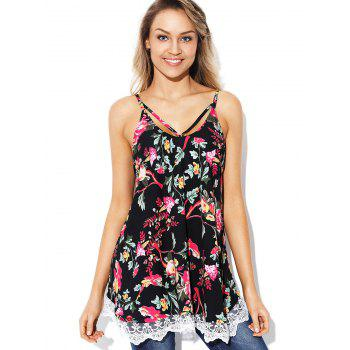 Floral Print Plain Cami Top - BLACK S