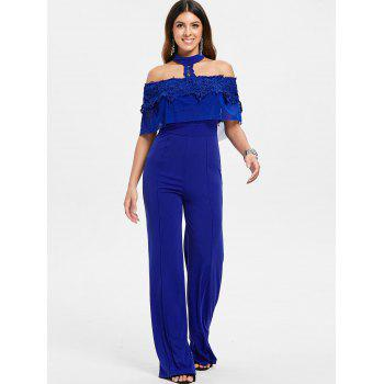 Short Sleeve Applique Choker Neck Jumpsuit - BLUE M
