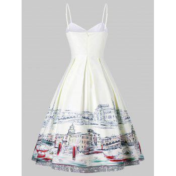 Printed Ruched Fit and Flare Slip Dress - WHITE L