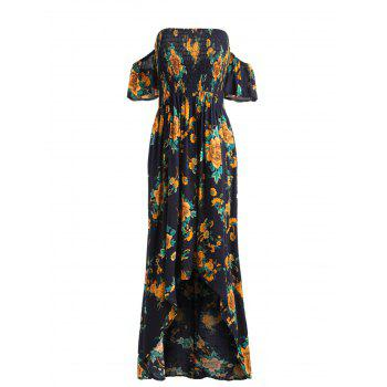 Open Back High Low Flower Dress - multicolor M