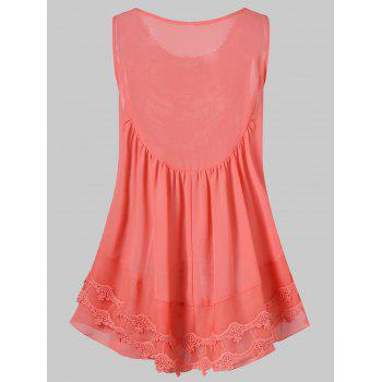 Lace Embroidered Mesh Insert Swing Tank Top - ORANGE PINK XL