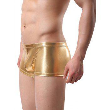 Low-rise False Leather Solid Color Trunk - GOLDEN BROWN M