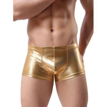 Low-rise False Leather Solid Color Trunk - GOLDEN BROWN 2XL