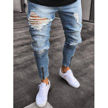 Ripped Faded Wash Zip Hem Jeans - BLUE 38