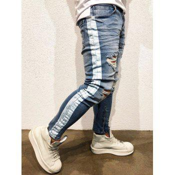 Zip Hem Paint Stripe Distressed Jeans - BLUE 32