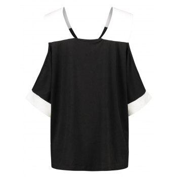 V Neck Contrast Trim T-shirt - BLACK M