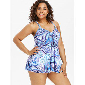 Back Criss Cross Plus Size Paisley Pattern Tankini Set - multicolor 5X