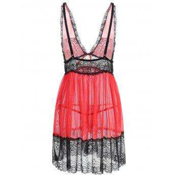 Plus Size Lace Plunging Babydoll - RED 3X