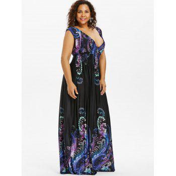 Paisley Plus Size Plunge V Neck Maxi Bohemian Dress - COBALT BLUE 5XL