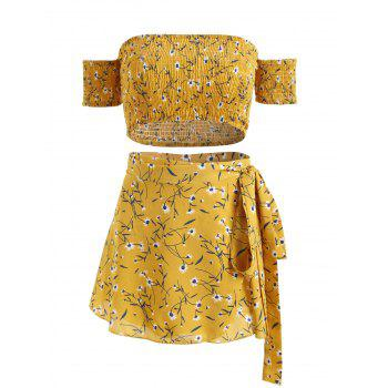 Floral Print Crop Top and Wrap Skirt Set - YELLOW M