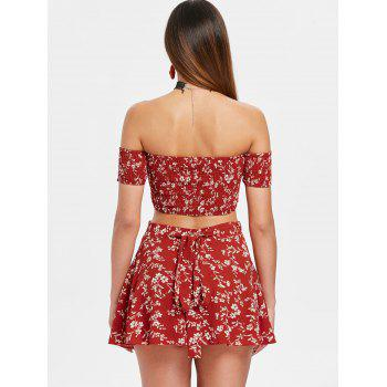 Floral Print Crop Top and Wrap Skirt Set - CHESTNUT RED M