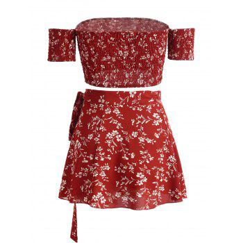 Floral Print Crop Top and Wrap Skirt Set - CHESTNUT RED L