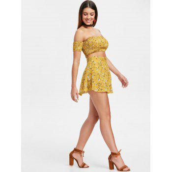Floral Print Crop Top and Wrap Skirt Set - YELLOW S