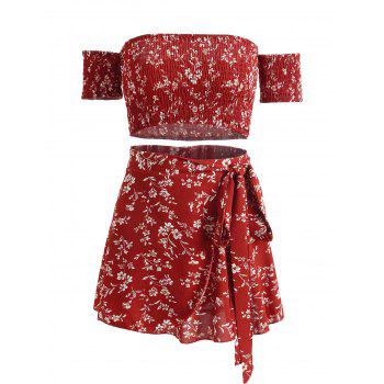 Floral Print Crop Top and Wrap Skirt Set - CHESTNUT RED S