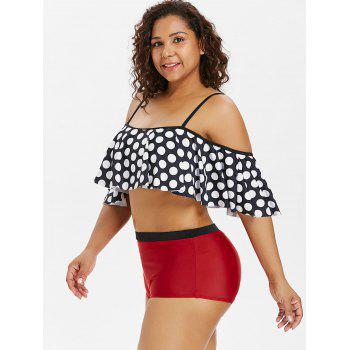 Plus Size Polka Dot Flounce Bikini Set - CRANBERRY L