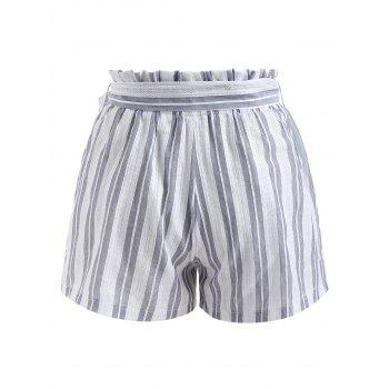 Belted Striped High Waist Shorts - WHITE S